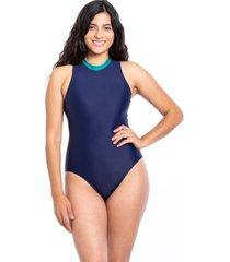 traje de baño enterito deportivo con cierre azul marino samia