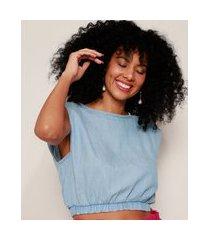 regata jeans muscle tee feminina cropped com ombreiras decote redondo azul claro