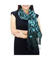 silk scarf, 'emerald dance' (thailand)