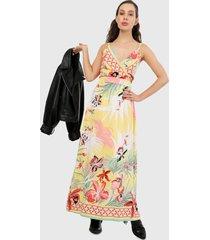 vestido amarillo-azul-coral paris district