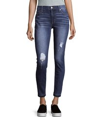 mid-rise distressed ankle jeans