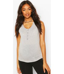 maternity nursing button front top, grey marl