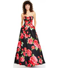 b darlin juniors' strapless floral-print gown