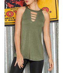 yoins recorte verde militar redondo cuello camiseta sin mangas