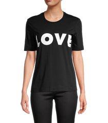 love moschino women's statement cotton tee - black - size 38 (4)
