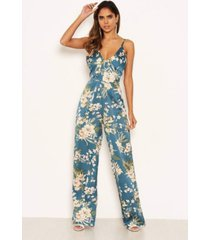 ax paris women's floral v-neck strappy satin jumpsuit