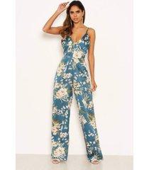 ax paris women's floral v-neck strappy satin jumpsuit