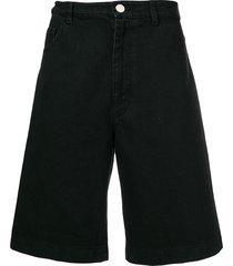 raf simons loose-fit denim shorts - black