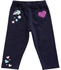 leggings azul oscuro con estampado y bordado