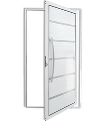 porta pivotante esquerda com lambri e puxador em alumínio premium 210x120cm branca