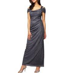 women's alex evenings cold shoulder ruffle glitter gown, size 6 - grey