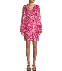 toccin women's printed twist-front dress - raspberry - size 4
