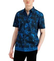 hugo hugo boss men's ebor relaxed-fit palm frond-print shirt