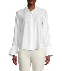 lea & viola women's solid shirt - white - size s