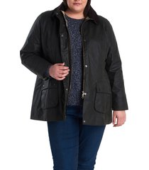 plus size women's barbour beadnell waxed cotton jacket, size 1x - green