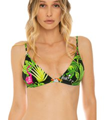 mc2 saint barth triangle bralette top with birds and tropical leaves