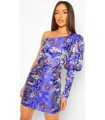jacquard mini jurk met blote schouder en pofmouwen, cobalt