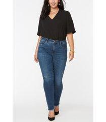 nydj women's plus size alina skinny jeans with frayed hems