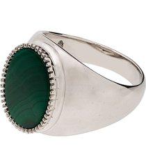 o thongthai malachite stone signet ring - silver