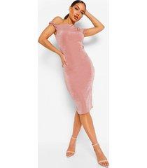 getextuurde strakke midi jurk met open schouder, taupe