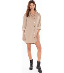 womens button down corduroy shirt with balloon sleeves - stone