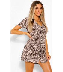 leopard print button shift dress, brown