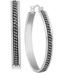 essentials silver-tone center chain hoop in fine silver plate earrings