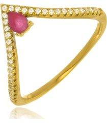 anel cleópatra rubi di capri semi jóias x ouro