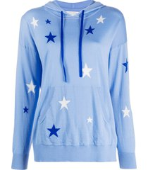 chinti and parker star-print cashmere hoodie - blue