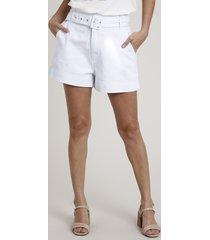 short de sarja feminino clochard cintura super alta com cinto branco