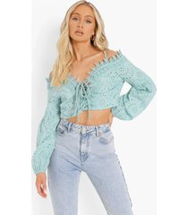 broderie anglaise crop top, blue