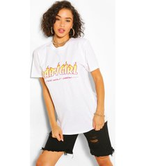 babygirl flame print t-shirt, white