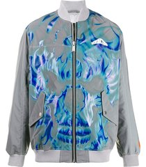 heron preston skull print bomber jacket - grey