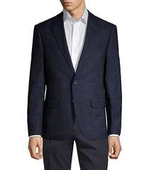 plaid wool blend jacket