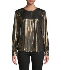 metallic foil long-sleeve top