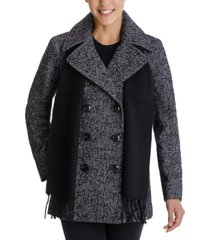 london fog petite double-breasted plaid-scarf peacoat