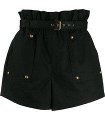 saint laurent stud detail high-waisted shorts - black