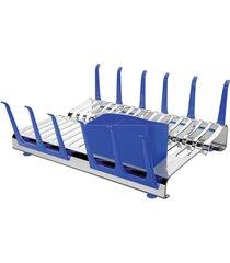 escorredor de louças tramontina aço inox plurale azul - tricae