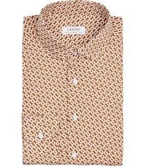 camicia da uomo su misura, canclini, seventies arancione, quattro stagioni | lanieri