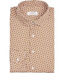 camicia da uomo su misura, canclini, seventies arancione, quattro stagioni