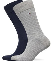 th men small stripe sock 2p underwear socks regular socks grå tommy hilfiger