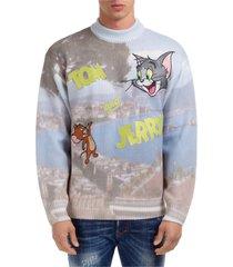 maglione maglia uomo girocollo tom & jerry napoli