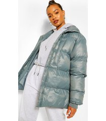 oversized gewatteerde cire jas met hoge hals, petrol