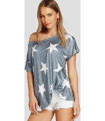 camiseta de hombro gris twist star patrón one