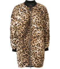 giambattista valli leopard print longline bomber jacket - brown