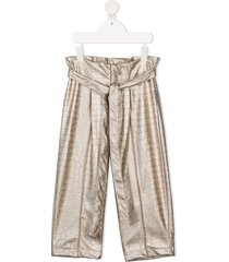 mariuccia milano kids tie-fastening ruched trousers - gold