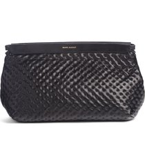 isabel marant luz leather clutch - black