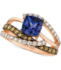 le vian chocolatier blueberry tanzanite (1-3/8 ct. t.w.) & diamond (7/8 ct. t.w.) ring in 14k rose gold