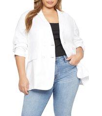 plus size women's sanctuary cape cod linen & cotton blend blazer