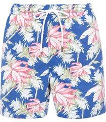 short masculino praia flor de paris - azul